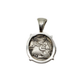 Back of Titius pegasus silver denarius ancient coin pendant