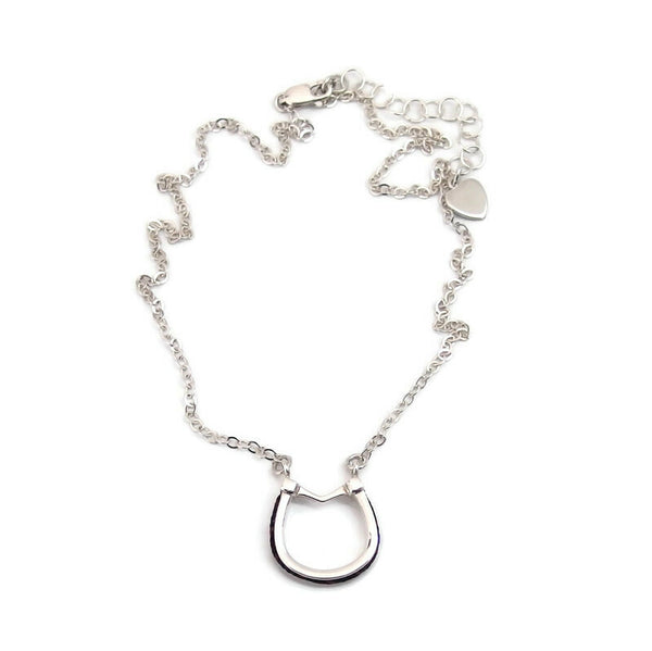 Small Horseshoe Necklace with Horsehair Braid