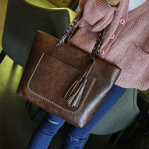 Large Capacity Women Vintage Shoulder Tote Casual Tassel Leather bags