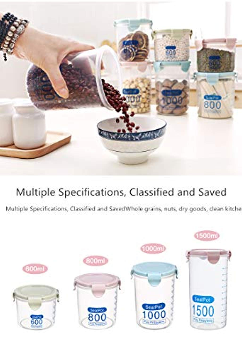 600ml Transparent Plastic Sealed Cans Food Grain Fridge Storage Tank Kitchen Cereal Storage Box (3 colors)