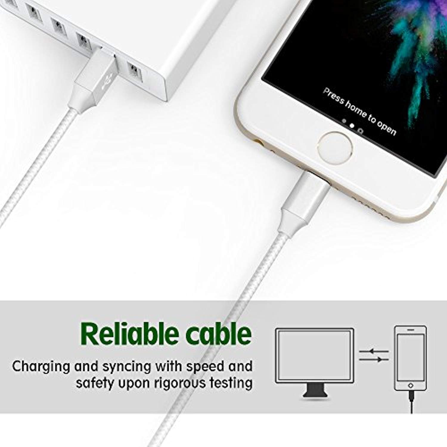 iPhone Charger,  Nylon Braided Cord Charger for iPhone XS/Max/XR/X/8/8Plus/7/7Plus/6S/Plus/SE/iPad and More(1 set)