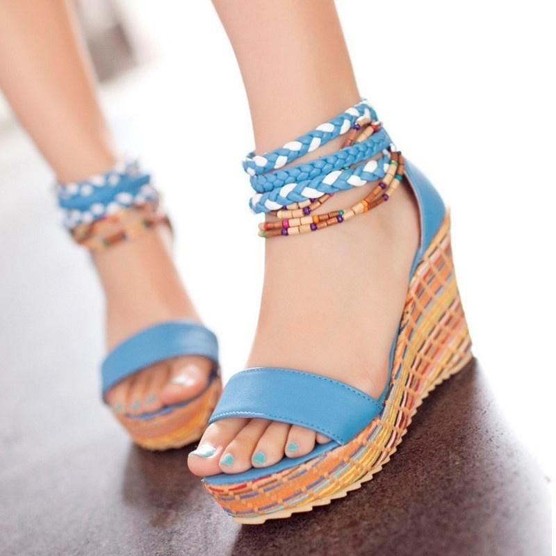 2019 New Summer Sexy Sandals Woman's  Wedges Bohemia Heel