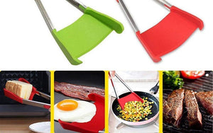Intelligent Multi-functional Kitchen 2-in-1 Spatula Tongs Non Stick Heat Resistance Food Folder -
