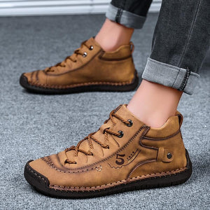 Men Hand Stitching Vintage Leather Comfy Ankle Boots