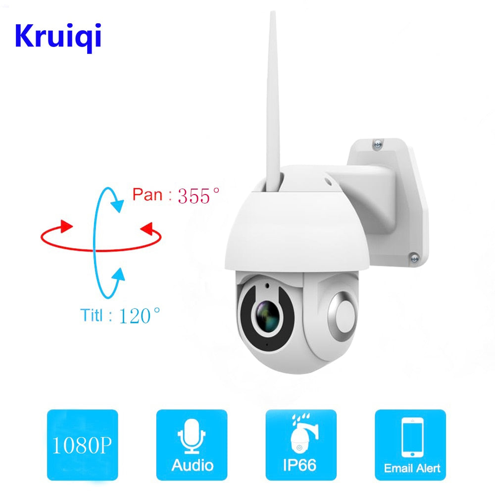 Kruiqi 1080 P Kamera IP PTZ Outdoor Speed Dome Kamera Keamanan Nirkabel Wifi Pan Tilt Zoom IR Network CCTV Surveillance 1080 P