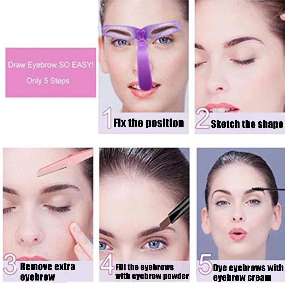 Detachable Eyebrow Grooming Stencil Set - 8PCS