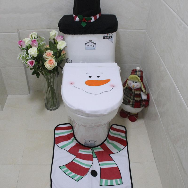 3 in1 Christmas Decorations Happy Santa Toilet Seat Cover and Rug Bathroom Set(BUY 2 Free shipping!)