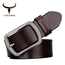 Load image into Gallery viewer, COWATHER brand classic men's cow genuine leather male dress pin buckle strap fashion adjustable black brown coffee gift wrap