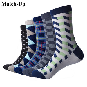 Match-Up Men's Business Combed Cotton Crew Dress Socks (5 pairs/lot )