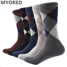Load image into Gallery viewer, MYORED 10 pair/lot Men's socks solid color Cotton Socks Argyle pattern crew socks for business dress casual funny long socks