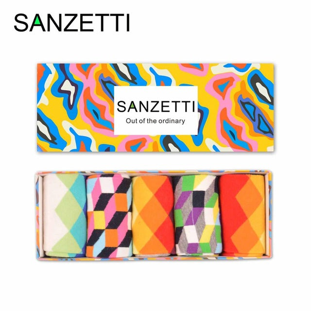 SANZETTI  5 pairs/lot Gift Box Men's Colorful Funny Combed Cotton Socks Filled Optic Gradient Casual Dress Crew Funny Socks