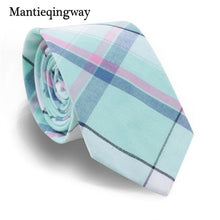 Load image into Gallery viewer, Mantieqingway Casual Plaid Printed Neck Ties For Mens Cotton Skinny Necktie for Wedding Colorful Gravata Masculina Cravat