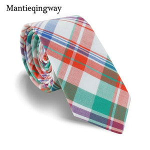 Mantieqingway Casual Plaid Printed Neck Ties For Mens Cotton Skinny Necktie for Wedding Colorful Gravata Masculina Cravat