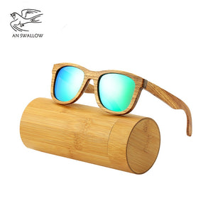 AN SWALLOW New 100% Real Zebra Wood Sunglasses Polarized Handmade Bamboo Mens Sunglass Sun glasses Men Gafas Oculos De Sol Mader