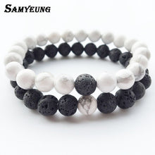 Load image into Gallery viewer, Steampunk Fashion Natural Stone Bracelets for Men Women Lava Beads Bracelet Femme Braclet Male Braslet Pulseira Masculina