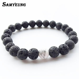 Steampunk Fashion Natural Stone Bracelets for Men Women Lava Beads Bracelet Femme Braclet Male Braslet Pulseira Masculina