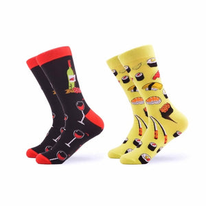 SANZETTI 2 pair/lot Men's Funny Combed Cotton Socks Novelty Colorful Pattern Casual Crew Socks Dress Socks for Christmas Gifts