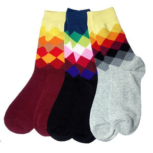 New combed cotton brand men's socks argyle dress socks mens funny happy socks size US 6-10 3 Pairs / Lot No Box