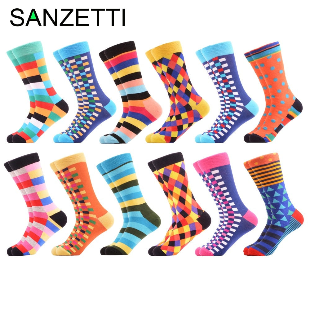 SANZETTI 12 Pairs/Lot New Colorful Winter Autumn Fashion Men's Skateboard Socks Long Funny Male Cotton Dress Casual Design Socks