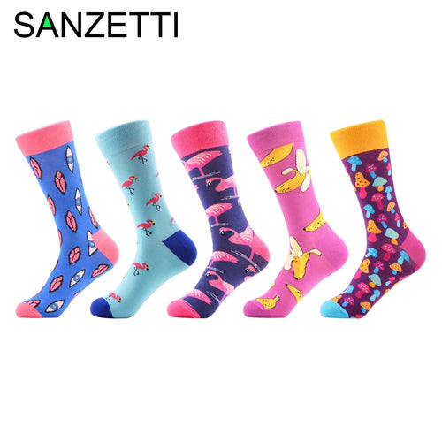 SANZETTI 5 pairs/lot New Men&Women Design Socks Funny Mushroom Design Wedding Gifts Combed Cotton Breathable Dress Neutral Socks