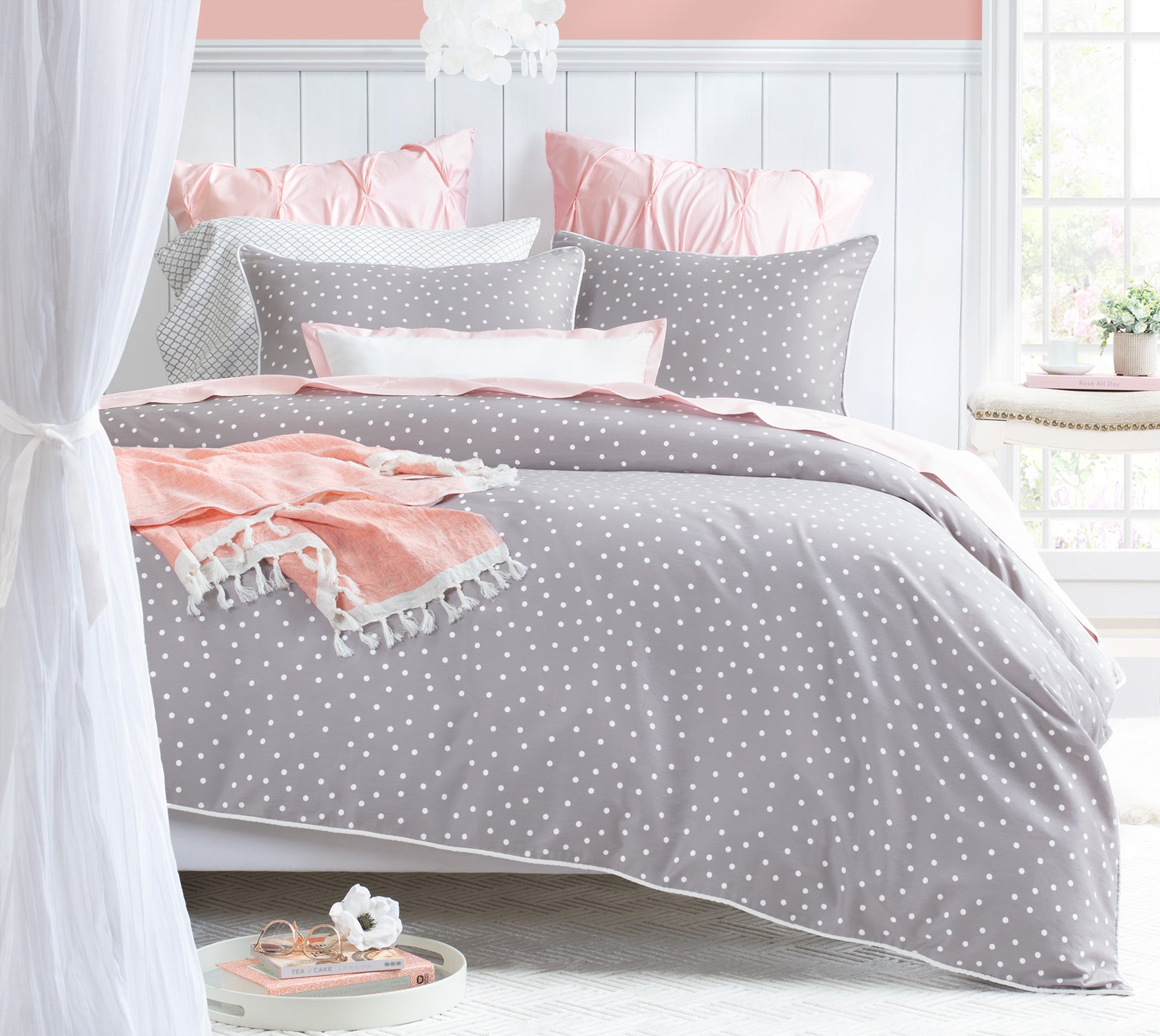 Grey and Pink Bedding