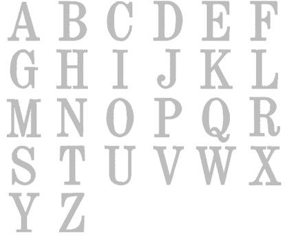 Image of all the letters in Traditional