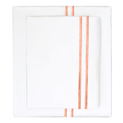 Apricot Lines Embroidered Sheet Set 1 (Fitted, Flat, & Pillow Cases)