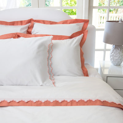 Bedroom inspiration and bedding decor | The Apricot Scalloped Embroidered Sheet Sets | Crane and Canopy