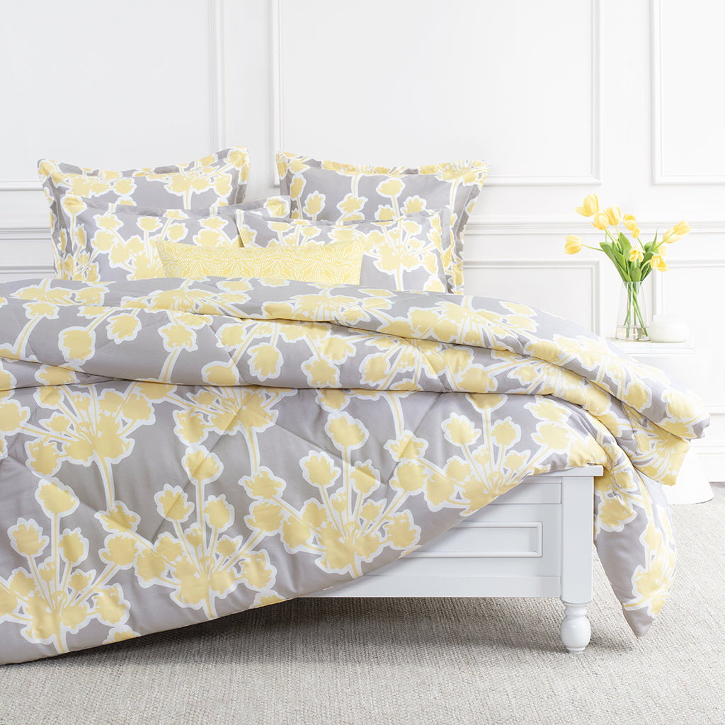 Yellow And Grey Floral Comforter The Ashbury Yellow Comforter Crane Canopy