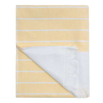 Yellow Stripe Fouta Towel Essentials Bundle (2 Wash + 2 Hand + 2 Bath Towels)