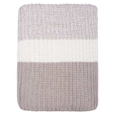Beige Banded Edge Throw