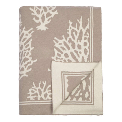 Beige Reef Reversible Patterned Throw