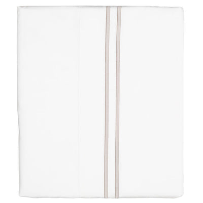 Beige Lines Embroidered Flat Sheet