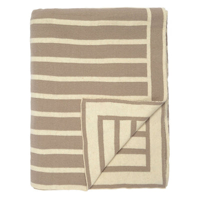 Beige Beach Stripes Reversible Patterned Throw