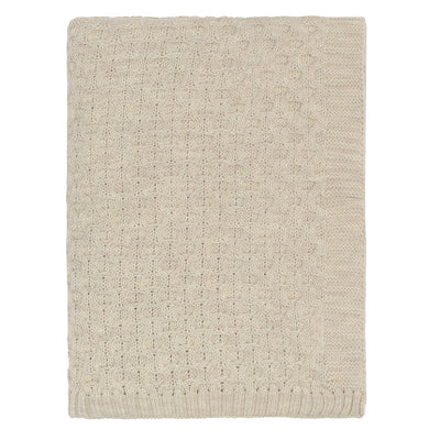 The Beige Textured Honeycomb Merino Wool Throw