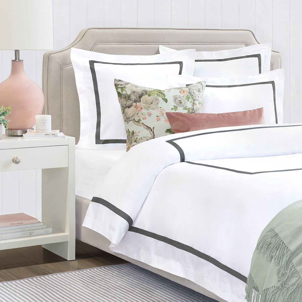 Bedroom inspiration and bedding decor | Bella Grey Framed Percale Duvet Cover Duvet Cover | Crane and Canopy