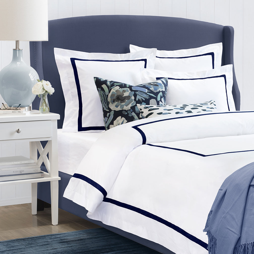 Bedroom inspiration and bedding decor | Bella Midnight Framed Percale Duvet Cover Duvet Cover | Crane and Canopy