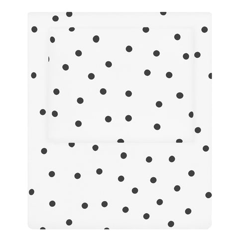 Black and White Polka Dots Sheet Set  (Fitted, Flat, & Pillow Cases)