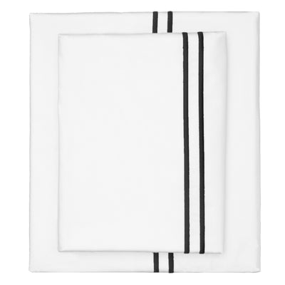 Black Lines Embroidered Sheet Set 1 (Fitted, Flat, & Pillow Cases)