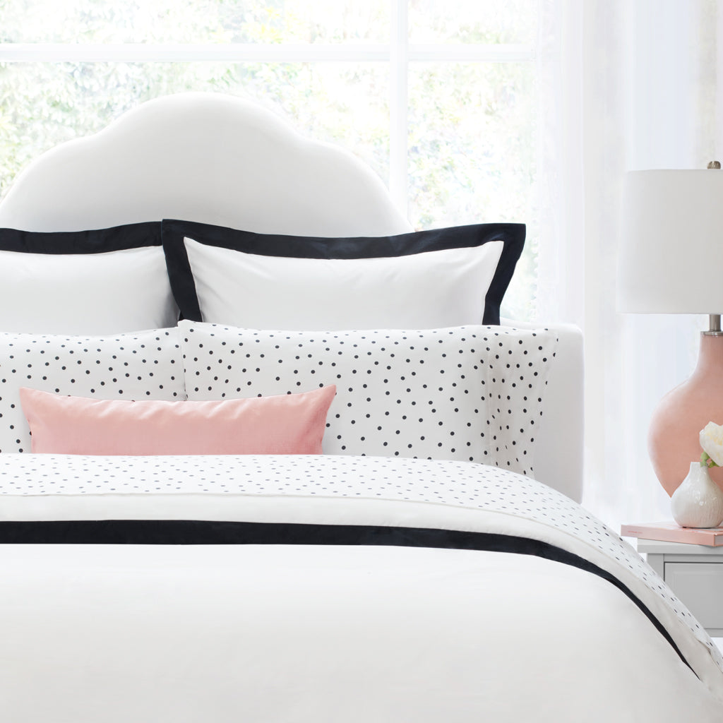 Bedroom inspiration and bedding decor | Black and White Polka Dots Flat Sheets | Crane and Canopy