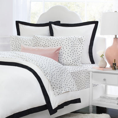 Bedroom inspiration and bedding decor | The Black and White Polka Dots Sheet Sets | Crane and Canopy