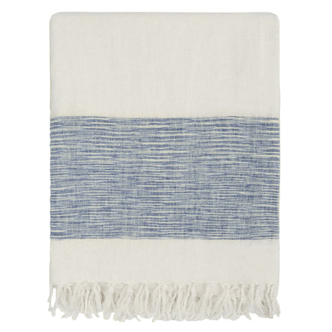 The Blue Colorblock Linen Throw