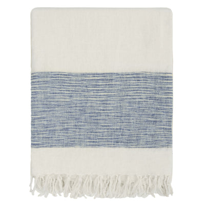 Blue Colorblock Linen Throw