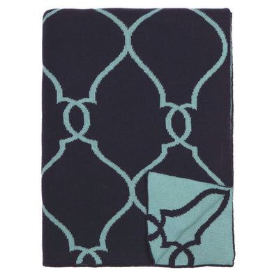 Blue Lattice Reversible Patterned Throw