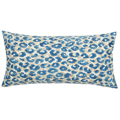 Sapphire Blue Leopard Throw Pillow