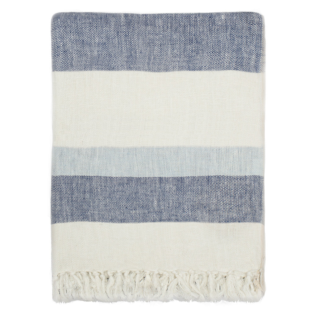 Bedroom inspiration and bedding decor | Blue Multi Stripe Linen Throw Duvet Cover | Crane and Canopy
