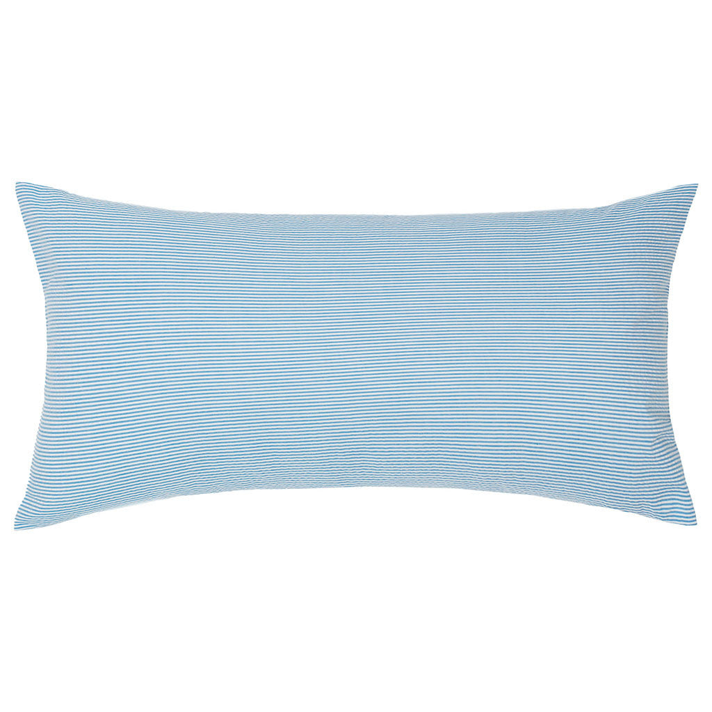 Bedroom inspiration and bedding decor | The Ocean Blue Seersucker Throw Pillows | Crane and Canopy