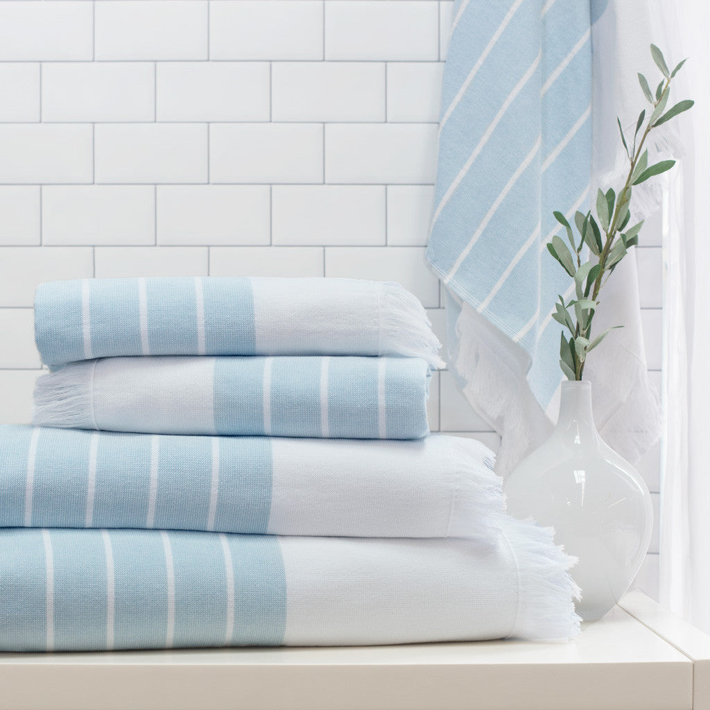 Bedroom inspiration and bedding decor | Blue Stripe Fouta Towel Spa Bundle (2 Wash + 2 Hand + 4 Bath Towels) Duvet Cover | Crane and Canopy