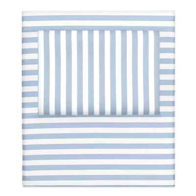 French Blue Striped Sheet Set  (Fitted, Flat, & Pillow Cases)