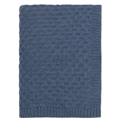 The Blue Textured Honeycomb Merino Wool Throw